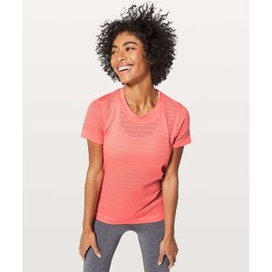 LULULEMON Breeze By Short Sleeve Coral Eyelet Larg